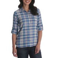 Riders by Lee Women's Long Sleeve Woven Plaid Shirt L