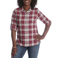 Riders by Lee Women's Long Sleeve Woven Plaid Shirt M