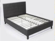 Brassex PU Frame Full Size Black Bed