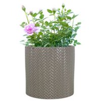 "hometrends 10"" Fishscale Taupe Ceramic Planter"