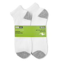 Lot de 10 paires de socquettes pour garçon Athletic Works Blanc