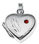 Sterling Silver Locket Charm with Ruby