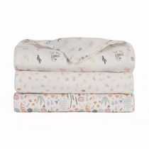 Baby's First by Nemcor 3 Pack Cotton Muslin Swaddle Receiving Blankets, Floral