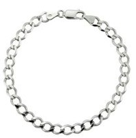 "Sterling Silver 8.5"" Men's Bracelet with Curb Links"