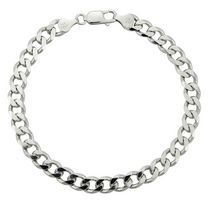 "Sterling Silver 8.5"" Men's Bracelet with Heavy Curb Links"