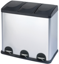 The Point Gallery Step N' Sort 60 Litre 3-Compartment Trash and Recycling Bin