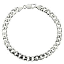 "Sterling Silver 8.5"" Men's Bracelet with Figaro Links"