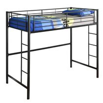Twin Loft Metal Bunk Bed - Black