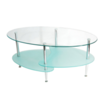 Dual Wave Oval Glass Coffee Table