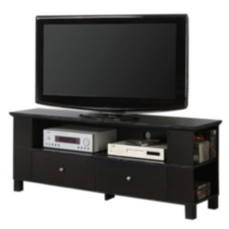 Black Wood TV Stand with Storage