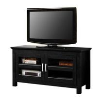 Black Wood TV Stand with Glass Doors