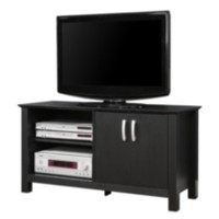 Black Wood Open Shelf TV Stand