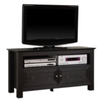Black Wood TV Stand with Double Doors