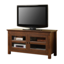 Brown Wood TV Stand with Glass Doors