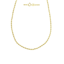 10K Yellow Gold 012 Gauge Hollow Rope Chain 20""