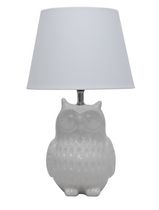 "14.5"" Ceramic Owl Table Lamp, White"