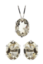 St. Silver Lemon Quartz Earrings Pendant set
