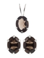 St. Silver Smokey Quartz Earrings Pendant set