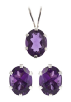 St. Silver Amethyst Earrings Pendant set
