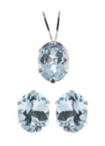 St. Silver Blue Topaz Earrings Pendant set