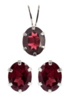 St. Silver Garnet Earrings Pendant set