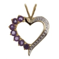 Sterling Silver Gold plated heart shaped amethyst pendant