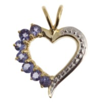 Sterling Silver Gold plated genuine tanzanite heart Pendant