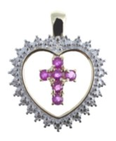 Silver Gold Plated Ruby Cross Pendant