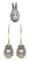 Silver Gold Plated Blue Topaz Earrings & Pendant