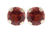 10kt Yellow Gold 3 mm genuine garnet stud Earrings