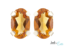 10kt Yellow Gold 5 x 3 mm genuine Citrine stud Earrings