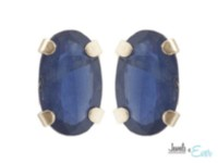 10kt Yellow Gold 5 x 3 mm genuine sapphire stud Earrings