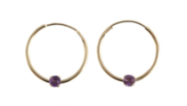 14kt Gold Amethyst Hoop Earrings