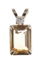 10kt Gold citrine and Diamond Pendant
