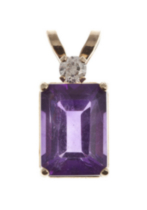 10kt Gold Amethyst and Diamond Pendant