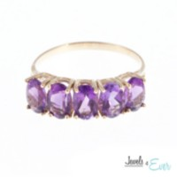 10kt Gold Ring set with 6x4 mm genuine Amethysts 6
