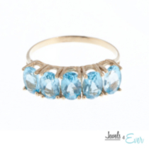 10kt Gold Ring set with 6x4 mm genuine Blue Topaz