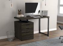 Safdie & Co. Desk 47.25L Dark Grey 3 Drawers Black Metal