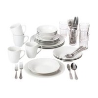 10 Strawberry Street Simply White Round Dinnerware Set with Glass Tumblers