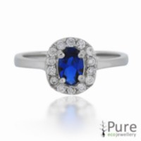 Princess Kate Sterling Silver Ring with Oval Sapphire and CZ 8