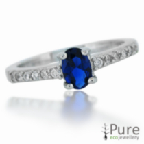 Princess Kate Sterling Silver Ring with Oval Sapphire and CZ