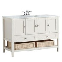 "Belmont 48"" Bath Vanity with White Quartz Marble Top"
