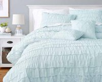 hometrends Ruffle Blue Comforter Set Queen