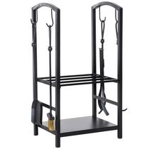 HOMCOM Heavy Duty Firewood Rack with Accessories Indoor Outdoor Log Holder Fire Wood Storage with 4 Tools Black