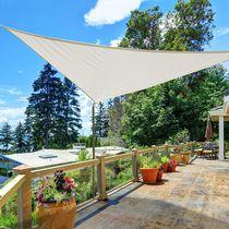 Outsunny Triangle 13x13x13ft Sun Sail Shade Garden UV Block Sunshade Outdoor Canopy Patio Lawn Shelter (Cream White)