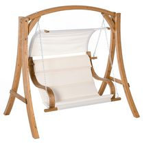 Outsunny Wooden Porch Swing Chair A-Frame Wood Log Swing Bench Chair for Patio Garden Yard
