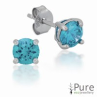 Aqua CZ 5mm Round Prong Set Stud Earrings in Sterling Silver