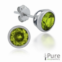 Peridot CZ Round Bezel Stud Earrings in Sterling Silver - 6mm