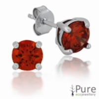Garnet CZ Round Prong Set Stud Earrings in Sterling Silver - 6mm
