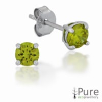 Peridot CZ 4mm Round Prong Set Stud Earrings in Sterling Silver